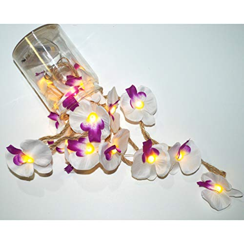 FLCSIed Phalaenopsis Orchid Flowers String Lights 20 LEDs Fairy Lights for Home Party Decoration with Timer Function