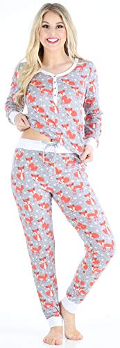 Sleepyheads Women's Sleepwear Knit Long Sleeve Henley and Pant Pajamas PJ Set