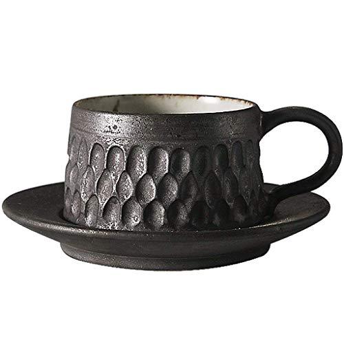 WMYATING Taza de café Simple café Espresso café y platillo Conjunto Estilo Retro japonés Taza de café Tallado a Mano, Tallado a Mano, gres, Taza de café, Taza de Desayuno, Taza de Desayuno