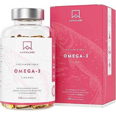 Omega 3 Kapseln Hochdosiert - 2000mg Fischöl pro Tagesdosis (2 Kapseln) - 1000mg EPA + 500mg DHA pro Dosis - Hochwirksame Omega-3-Fettsäuren - Nachhaltiger Fischfang - 120 Kapseln - 60 Tage Vorrat