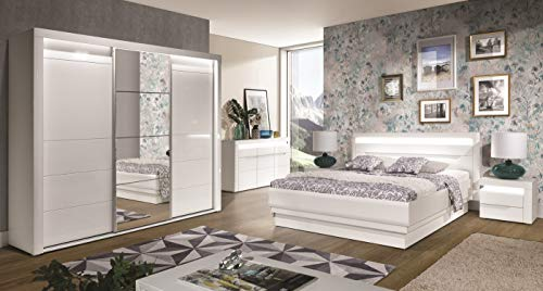 QMM Traum Moebel Schlafzimmer komplett IRIS C weiß Hochglanz Schiebetürenschrank LED Bett 160x200 Lattenrost Bettkasten Nakos Soft-Close-System