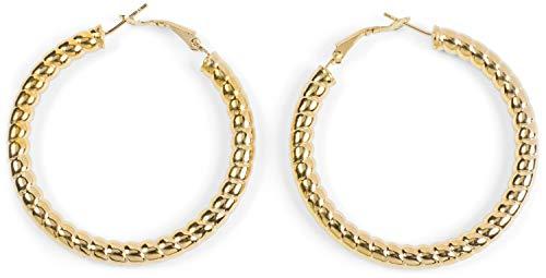 styleBREAKER Damen Creolen Ohrringe in Seil Optik, Klappbügel Verschluss, Runde Ohrhänger, Ohrschmuck 05090025, Farbe:Gold