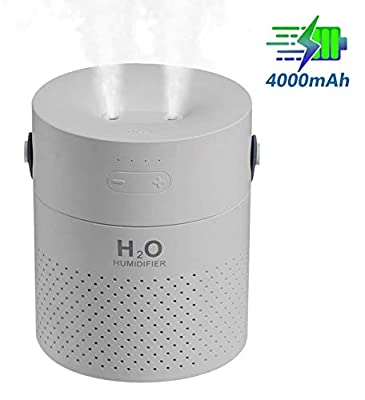 Famedy (Newest Design Dual Mist Spray Cordless Humidifier,1.1L Personal Humidifier with 4000mAh Battery, Travel Portable Humidifier, Ultrasonic Cool Mist Humidifier for Home, Bedroom, Office (Grey)