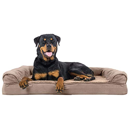 Furhaven Pet Dog Bed - Orthopedic Ultra Plush Faux Fur and Suede Traditional Sofa-Style Living Room Couch Pet Bed with Removable Cover for Dogs and Cats, Almondine, Jumbo