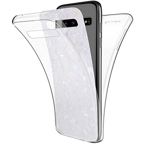 Uposao Kompatibel mit Samsung Galaxy S10 Hülle 360° Full Body Cover Rundum Handyhülle Doppel-Schutz Hülle Vorne Hinten Schutzhülle Silikon Bling Glänzend Glitzer Durchsichtig Tasche,Bunt