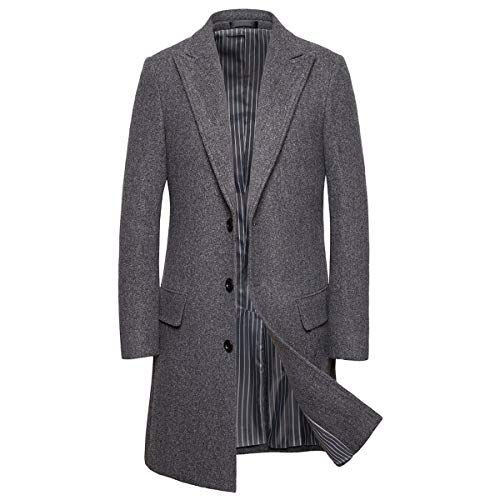 AOWOFS Herren Winter Mantel Lang Regular Fit Wintermantel Single Breasted Elegant Jacke für Business Freizeit