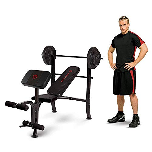 Marcy Standard Weight Bench with 80 lbs Vinyl-Coated Weight Set MKB-2081