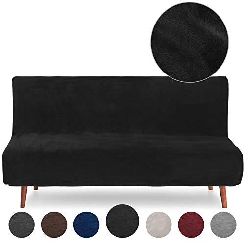 Rose Home Fashion RHF Velvet Futon Slipcover Futon Cover Sofa Slipcover Without Armrests Armless Sofa Cover Sofa Bed Cover Furniture Protector for Futon (Futon: Black)