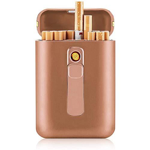 Caja De Cigarrillos(Oro) con Cigarrillos Más Ligeros Paquete Portátil De Tamaño King 20PCS Tamaño Regular Cigarrillos USB 2 En 1 Viento A Prueba De Viento Sin Flamontes Recargable