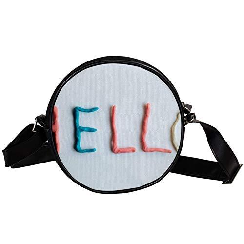 Bandolera redonda pequeña bolso de mano para mujer, bolso de hombro de moda, bolso de mensajero de lona, bolsa de cintura, accesorios para mujeres-Hello