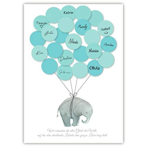 Pandawal Kinderzimmer Deko junge Elefant Gästebuch Alternative Set (Blau) Gastgeschenk zum Geburtstag Erinnerungsstück/Andenken für Baby & Kinder beschreibbar/Fingerabdruck