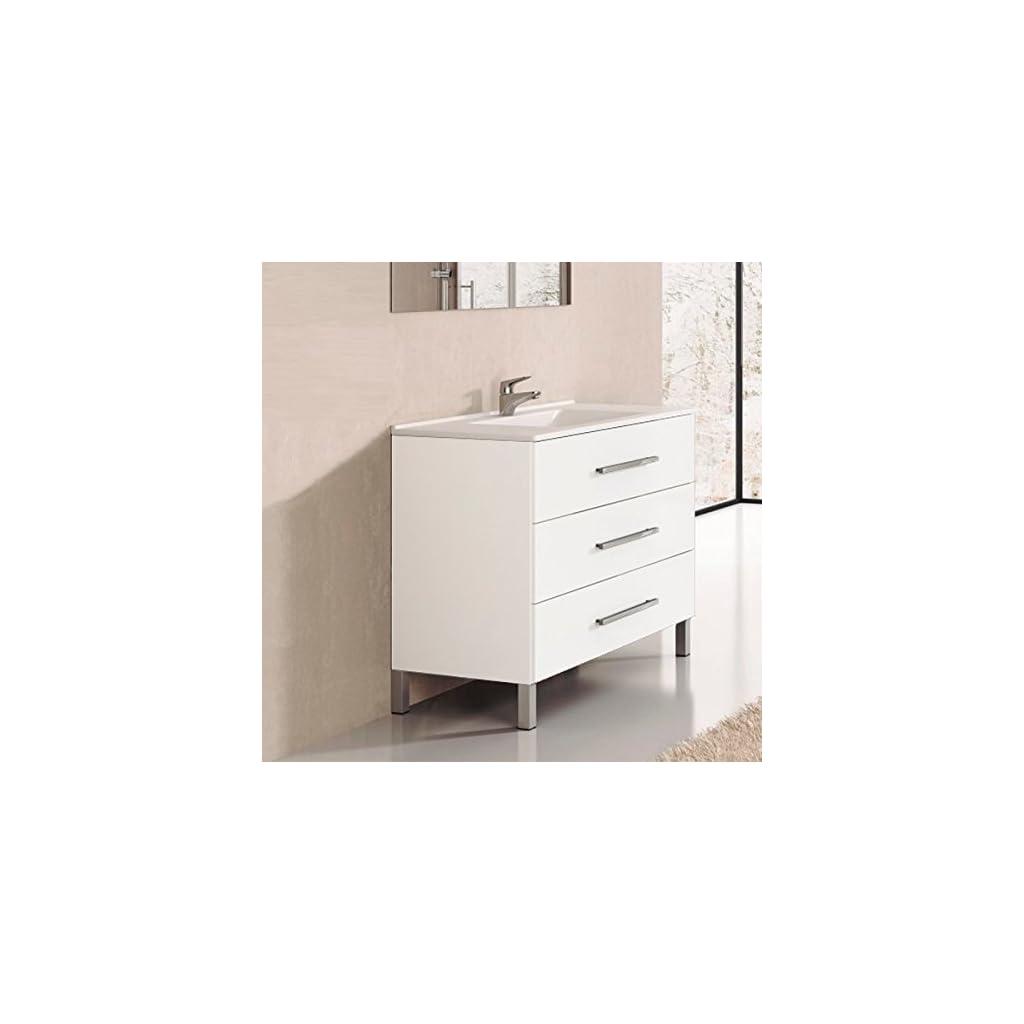 Ducha.es Indus Ensemble de salle de bain avec meuble et plan vasque en céramique 100cm Blanc brillant