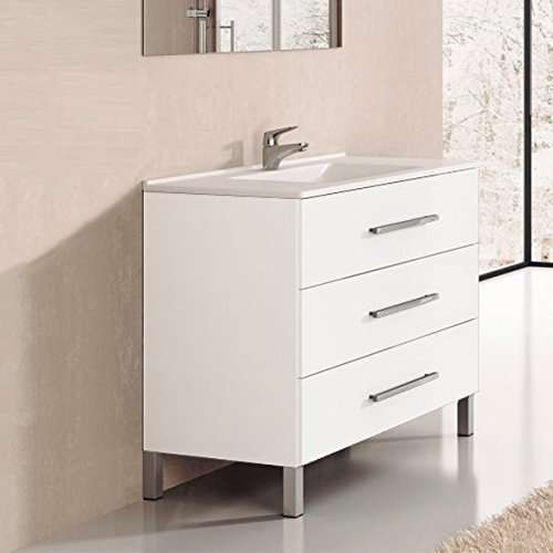Ducha.es Conjunto 2 Piezas INDUS-Mueble de baño y encimera cerámica (90cm, Blanco Brillo)