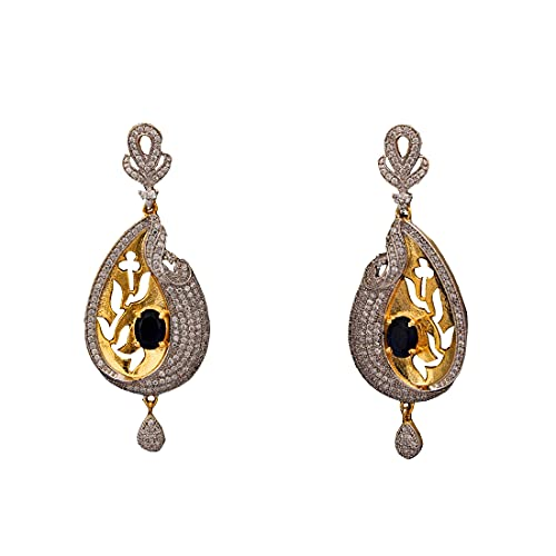 55Carat Unique Teardrop Earrings For Girls White,Blue Color Sapphire,Cubic Zircon Stones Gold Plated Cluster Dangle Earings For Women Traditional Golden Designer Jewellery