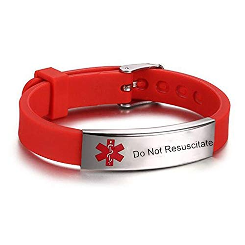 LiFashion LF Stainless Steel Silicone Rubber Chain Medical ID Health Alert Monitoring Systems DNR Adjustable Bracelet for Men Women Kids Monitoring Systems Wristband,Do Not Resuscitate