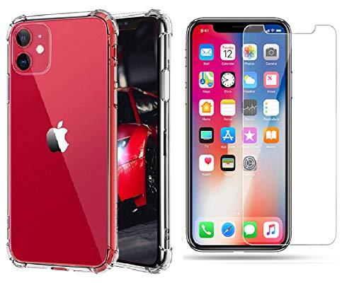 Coque iPhone 11 transparent en TPU 6.1 pouces + verre trempé inclus. Pack 2 en 1 housse protection iPhone intégrale 360 pour téléphone Apple. Etui fin, souple, fin souple antichoc avec coins renforcés
