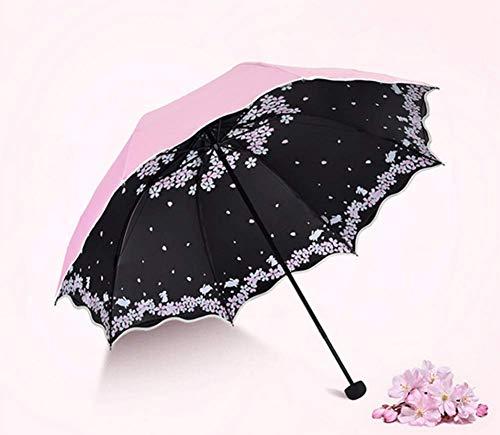 GLYHVXZ Sonnencreme-DREI-facher Regenschirm/Anti-UV-Regenschirm, Fast unattraktives Windmlast, automatisch offen/in der Nähe, Anti-Skid-Griff, einfach zu tragen,A