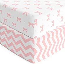 Baby Crib Sheets Girl 2 Pack   Jersey Cotton Fitted Crib Sheet Set and Toddler Bed Sheets   Pink Baby Girl Crib Sheets   Standard Crib and Toddler Bed Mattress Size 28 x 52 Inch