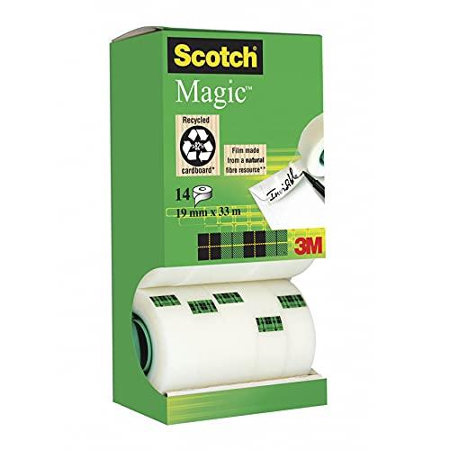 Scotch Magic Klebeband – Vorteilspack 14 Rollen 19mm x 33m, Allzweck-Klebeband für die Reparatur, Etikettierung und zum Verschließen von Dokumenten