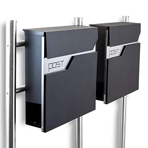 BITUXX® Design Doppel Standbriefkasten 16782 Briefkasten Briefkastenanlage Freistehender Postkasten mit Zeitungsfach Anthrazit Graphit Edelstahl