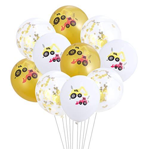 STOBOK Bagger Fahrzeugdruck Luftballons für Kindergeburtstagsfeier Dekoration-10St