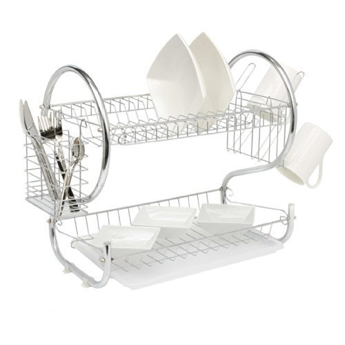 Neo Silver Deluxe 2 Tier Chrome Plate Dish Cup Cutlery Drainer Rack Drip Tray Plates Holder