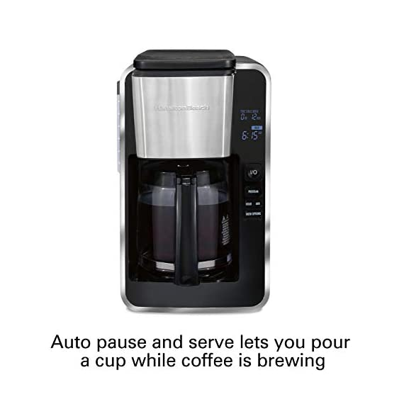 Hamilton beach programmable coffee maker, 12 cups, front access easy fill, pause & serve, 3 brewing options, black… 6 front access for easy filling fill the water tank from the front of the machine, not just the back front-access makes it easy to keep the coffee maker under the cabinet when in use swing out brew basket easier to fill and keep clean than a top load basket. Nonstick hot plate programmable clock set your brew time and strength in advance, and get peace of mind with a 2 hour automatic shutoff
