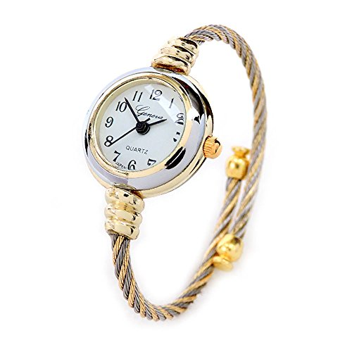 2Tone Gold Silver Cable Band Ladies Bangle Cuff Watch