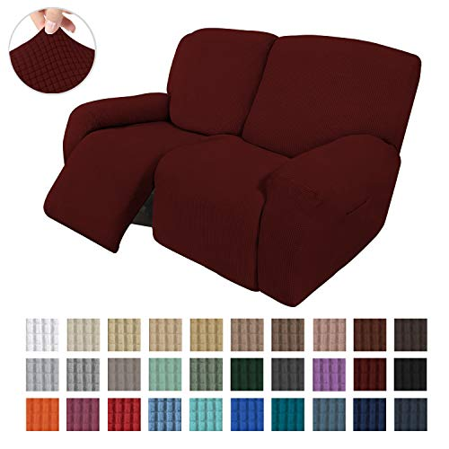 Easy-Going 6 Pieces Recliner Loveseat Stretch Sofa Slipcover Sofa Cover Furniture Protector Couch Soft with Elastic Bottom Kids, Spandex Jacquard Fabric Small Checks Wine