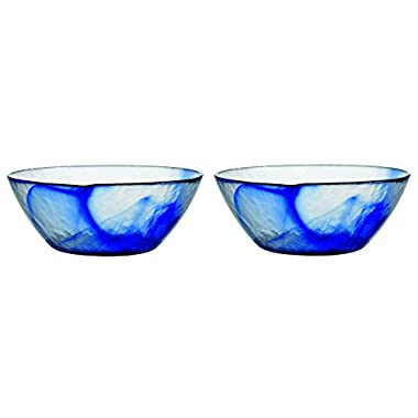 Bormioli Rocco Murano Blue Glass 9 Inch Medium Bowl, Set of 2