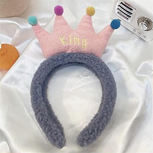 yqs Pinza Pelo Mujer, Peluche King Queen Crown Otoño Invierno 1 unid Velvet Suave Cálido Diadema Cuerda de Pelo Headwear Mujer Muchacha Mezcla Estilo Accesorios para el Cabello (Color : Blue)