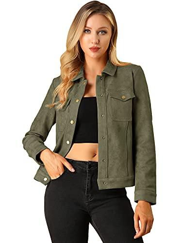 Allegra K Women's Faux Suede Jacket Turn Down Collar Flap Pockets Vintage Trucker Short Jackets Dark Green 8