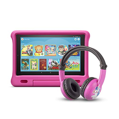 Fire HD 10 Kids Edition Tablet | 10.1' 1080p Full HD Display, 32 GB, Pink Kid-Proof Case + Made for Amazon Bluetooth BuddyPhones, PlayTime in Pink – Ages (3-7)