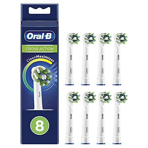 Oral-B CrossAction Cabezales de Recambio Tamaño Buzón, Pack De 8 Recambios Originales con Tecnología CleanMaximiser para Cepillos de Dientes Eléctricos