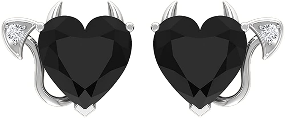 4 CT Devil Stud Earrings with Black Onyx and Diamond (8 MM Heart Cut Black Onyx), Screw back