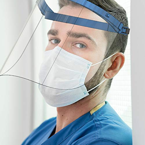 Mechdel Movable Face Shield M100 ( adjustable elastic with foam ) Pack of 1pcs (DARK BLUE)