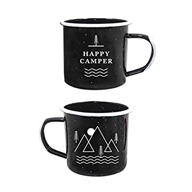 Happy Camper Enamel Camping Mug - Black, 12 Oz (350 ml), Ecofriendly Outdoor Camper Mugs Ideal For Early Morning Coffee Or Cold Campfire Beer. (2 Custom Designs To Pick From. By Journo Travel Co.) …