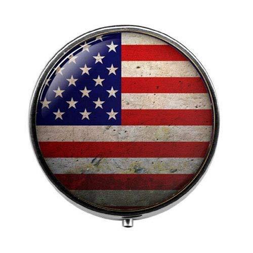 Pastillero de la bandera americana, caja de caramelos, joyería patriótica, abalorio vintage...