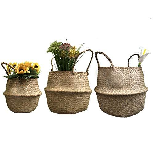 Sumshy - Cesta multiusos para pícnic, cestas de barriga natural Seagrass, cesta plegable de mimbre para baño, oficina, pan, ratán, niños, juguetes, chimenea, cesta de almacenamiento de algas marinas