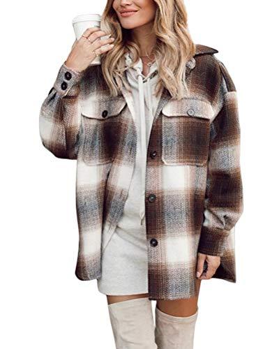 Minetom Giacca A Quadri Donna Primavera Autunno Giacche Lungo Manica Elegante Giacca Outwear Cappotto Cardigan Moda Quadri C Marrone Medium