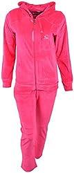Evizza Women Zipper Hoodie Tracksuit Active Pure Magenta Color Outfits Set