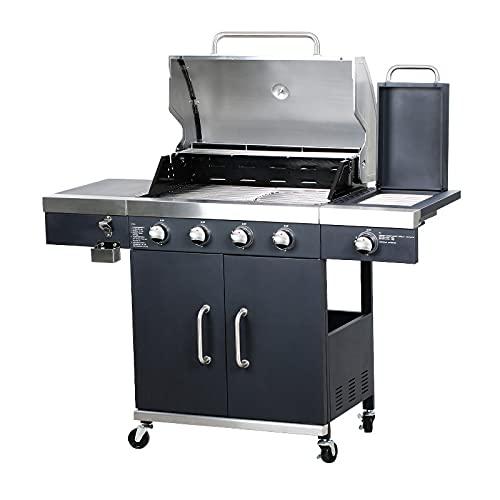 FRYH BBQ Propan Gasgrill 4 Brenner Gasgrill Grill mit TRU-Infrarot Seitenbrenner/Temperaturanzeige/Flaschenöffner / 4 Feststellbare Räder