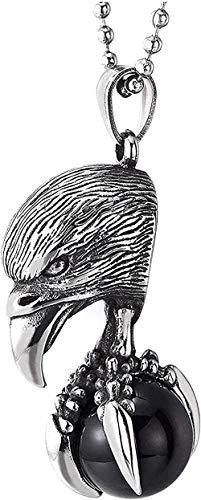 Collar con colgante de cuentas de ónix negro con cabeza de águila de acero vintage con pinchos y cadena de 30 pulgadas
