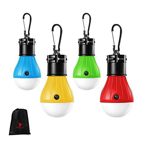 SEVEN HITECH Campinglampe mit Karabiner Wasserdicht Rucksack Licht Camping Lantern 4 Stücke Camping Lampen Tragbare Laterne Zeltlampe Glühbirne Set für Abenteuer, Angeln, Garage, Notfall, Stromausfall