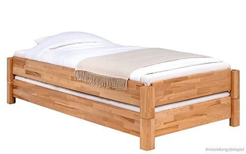 matches21 massief houten bedden stapelbedden Theo massief hout massief houten bedden kernbeuken natuur geolied - in 3 maten 100 x 200 cm 100 x 200 cm ligoppervlak.