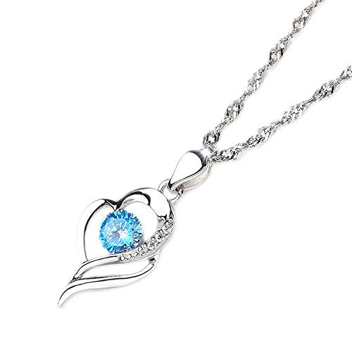Jewelry, Women Necklace White Gold CZ 925 Sterling Silver,Colour:Blue Zirconia (Color : Blue Zirconia)