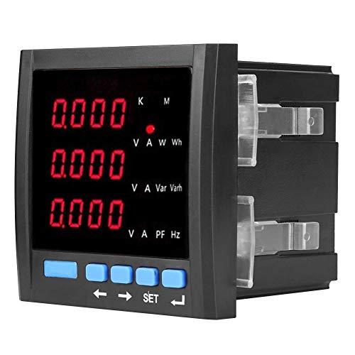 Amperímetro Digital Voltímetro Amperímetro Trifásico LED Voltímetro Multifuncional Programable Medidor Negro