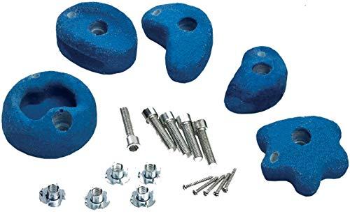 5 Stück Klettersteine mittel blau Klettergriffe mit Drehsicherung von Gartenpirat®
