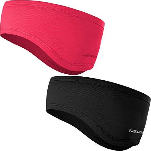 Stirnband 2-er Set - Kopfband, Headband für optimalen Ohrenschutz beim Jogging, Laufen, Wandern, Fahrrad- und Motorrad fahren - Stirnbänder für Damen und Herren (Standard Schwarz + Koralle)