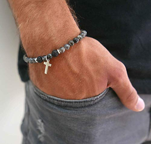 Handmade Strech Bracelet For men Set With Labradorite and Lava Gemstone Beads and Stainless Steel Cross Pendant By Galis Jewelry - Cross Bracelet For Men - Beaded Bracelet For Men - Gemstone Bracelet